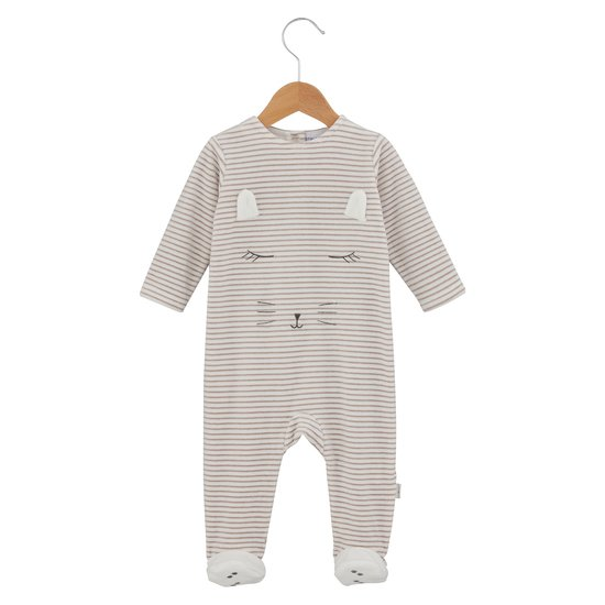 Pyjama chat endormi collection Mini Cat Beige  de P'tit Bisou Trousseau