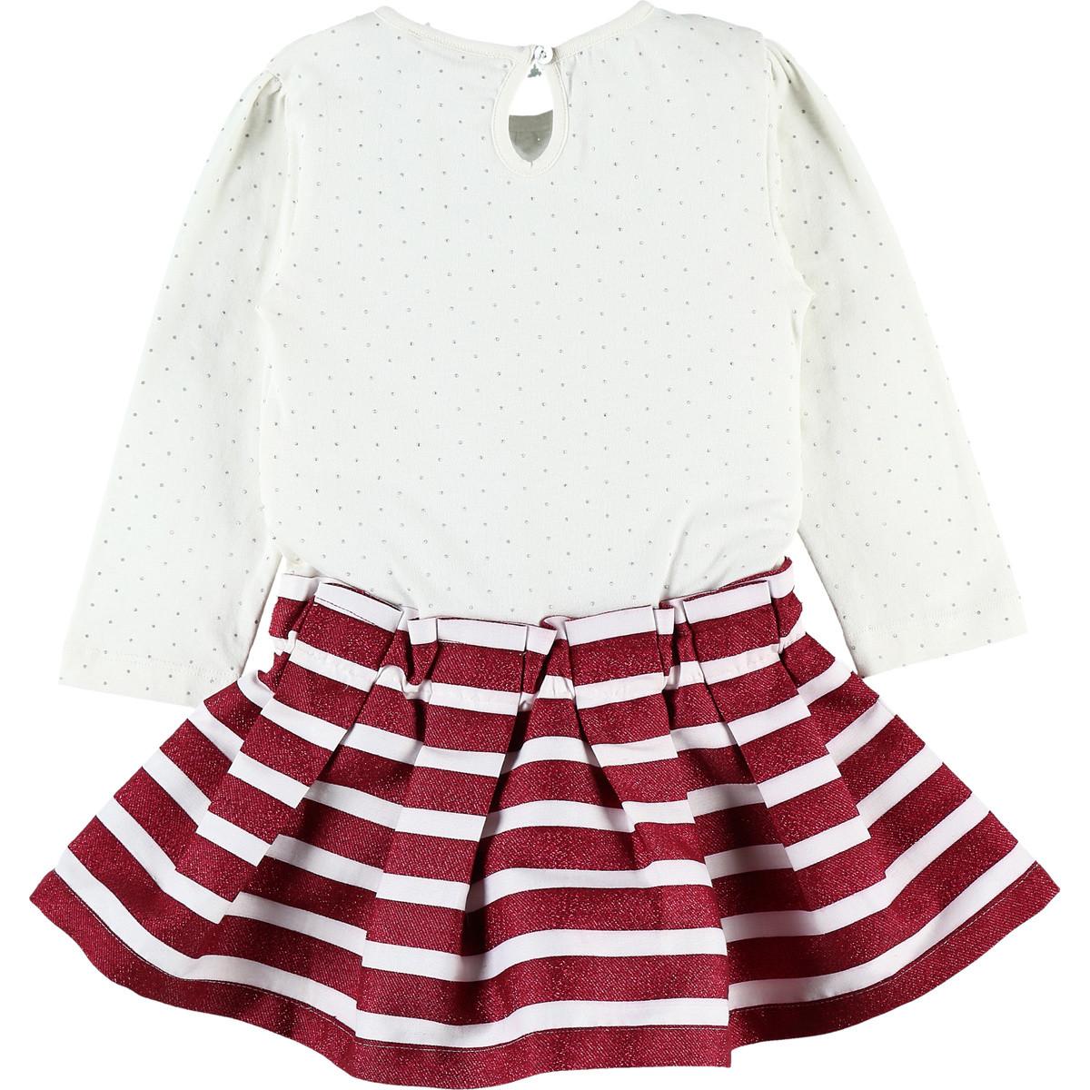 Robe bi-matière en jersey Collection Smart Girl écru/bordeaux  de Noukies