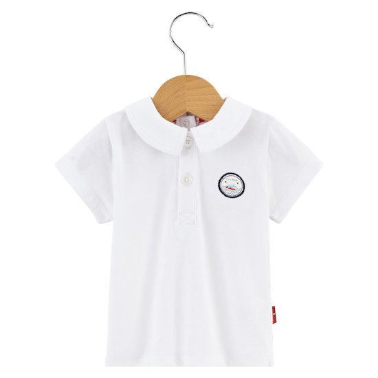 Polo Navy Baby Blanc optique  de P'tit bisou