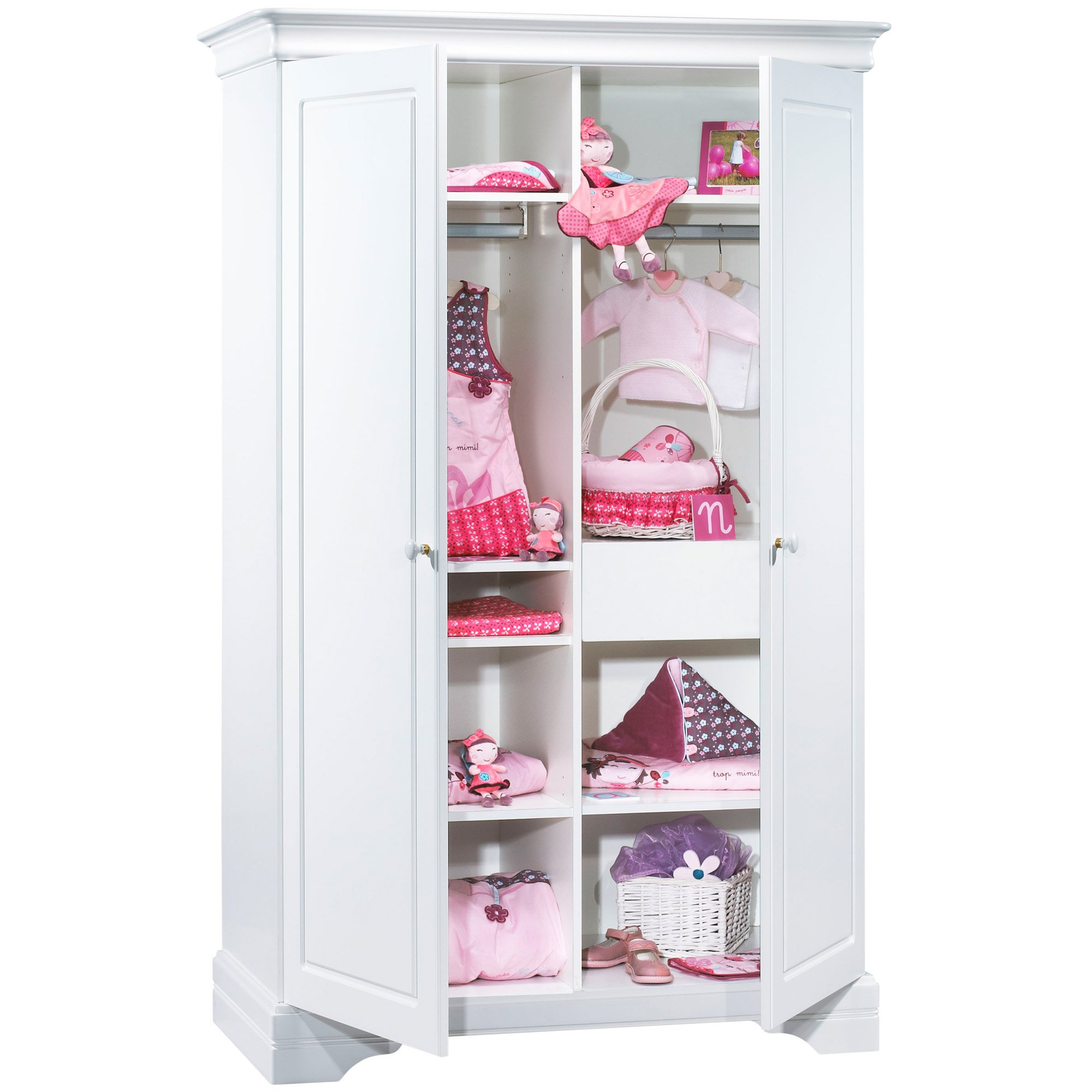 Elodie armoire 2 portes Blanc  de Sauthon Baby's Sweet Home
