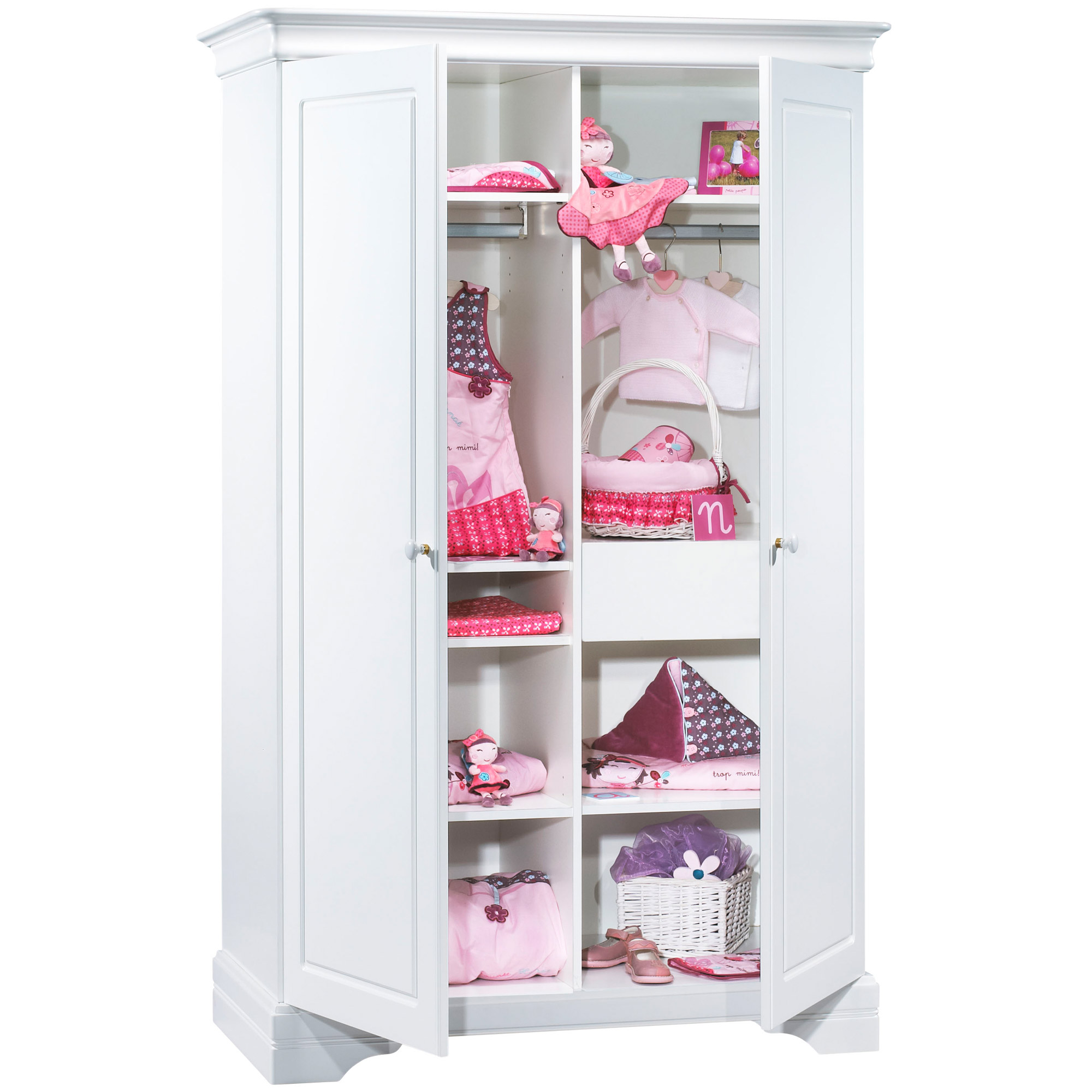 Elodie armoire 2 portes Blanc  de Sauthon Baby's Sweet Home