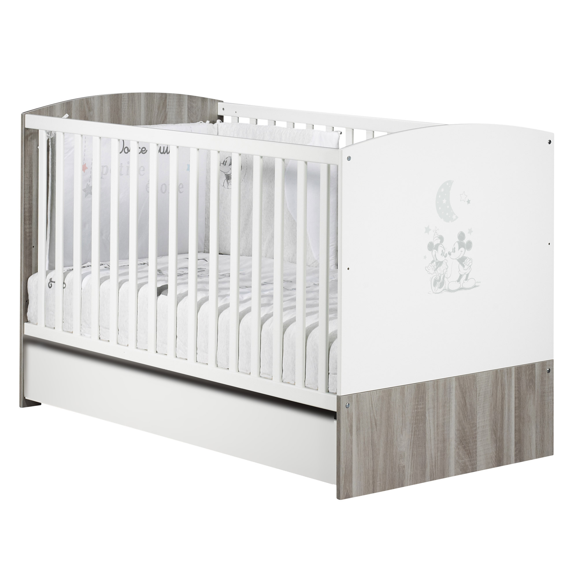 Mickey Little Big Bed 70x140 Blanc Gris De Sauthon Babys Sweet