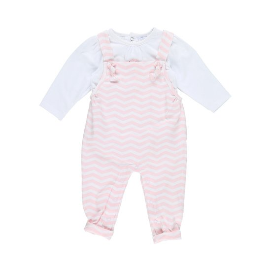 Ensemble salopette collection Cocon Fille Rose / Blanc  de Noukies