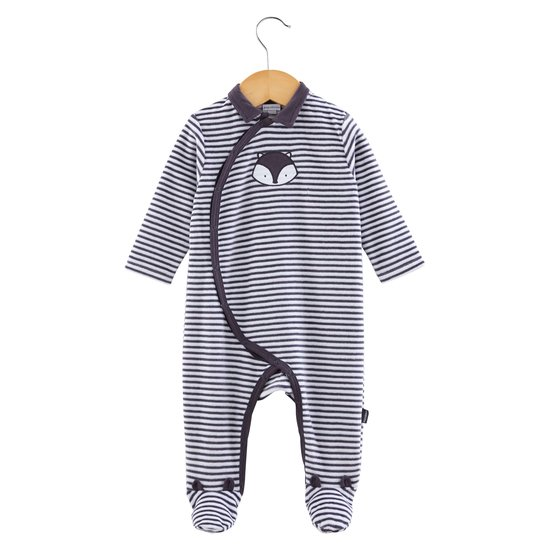 Pyjama rayures collection Little Fox Gris  de P'tit Bisou Trousseau