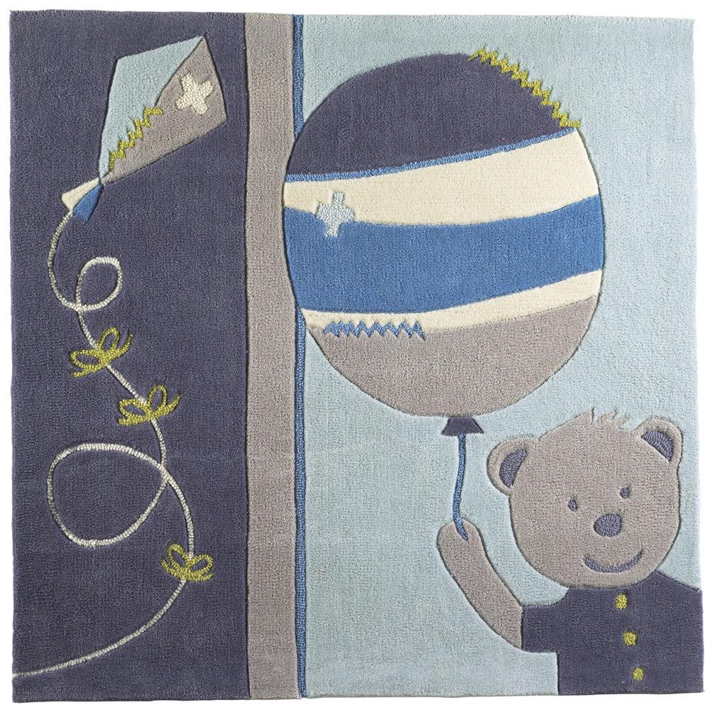 Lazare tapis carré Bleu/gris de Sauthon Baby Déco, Tapis : Aubert