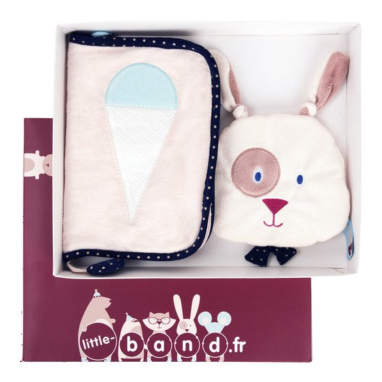 Balloon Company coffret doudou + protège carnet Beige  de Little Band