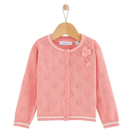 Cardigan Rose Corail collection Oiseau de Paradis  de Marèse