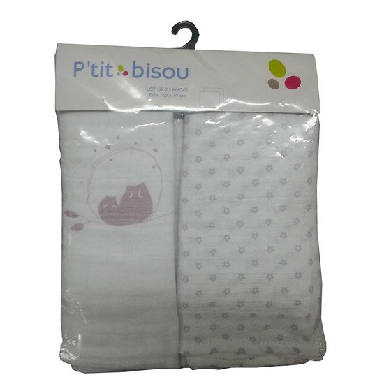Lot de 2 langes Chouette  de P'tit bisou