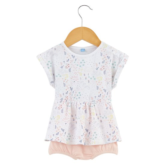 Combi robe Little Friends Blanc/Rose  de P'tit bisou