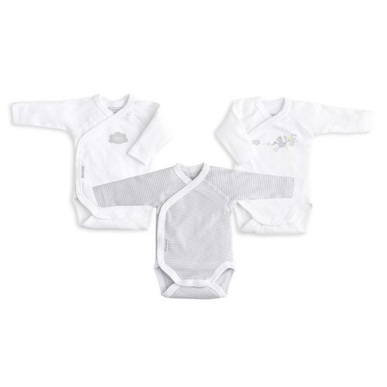 Lot de 3 bodies manches longues Blanc/gris  de P'tit bisou