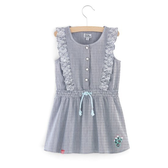 Robe rayée collection California Dreamin Fille Gris/Blanc  de Nano & nanette