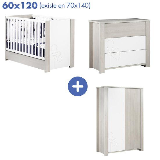 Chambre New Opale : Lit 60x120 + armoire + commode   de Sauthon Baby's Sweet Home