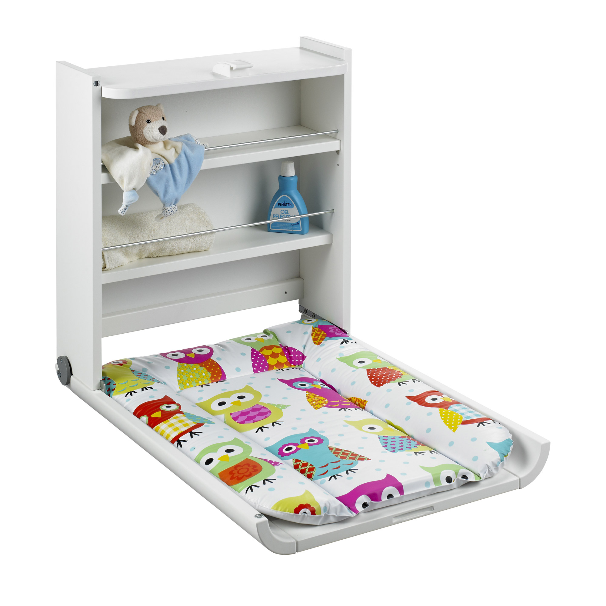 Table langer murale wanda blanc chouette de geuther - Table a langer murale autour de bebe ...
