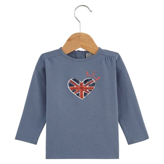 T-shirt cœur collection English Summer Camp Fille Bleu Prince  de Nano & nanette