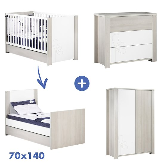 Chambre New Opale : Lit 70x140 + armoire + commode   de Sauthon Baby's Sweet Home