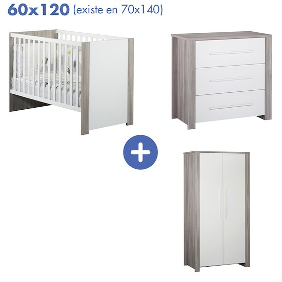 Chambre Pure : Lit 60x120 + armoire + commode   de Sauthon Baby's Sweet Home
