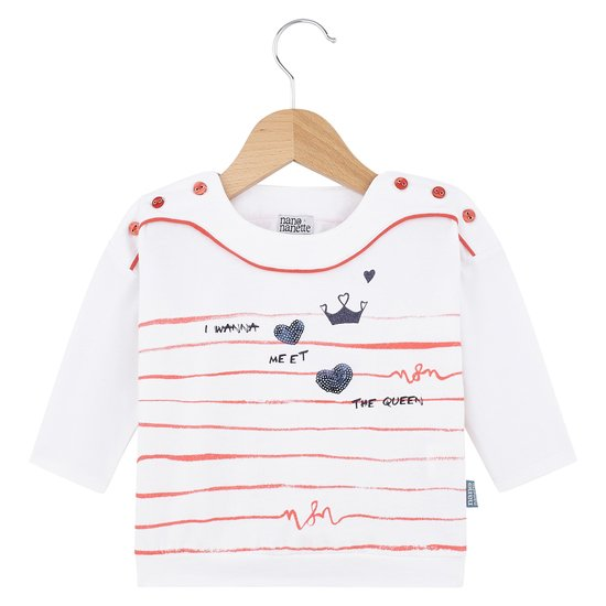 T-shirt boutons collection English Summer Camp Fille Blanc Windsor  de Nano & nanette