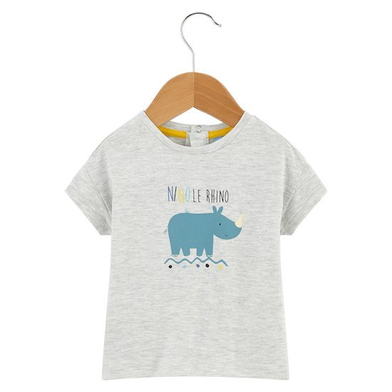 T-shirt rhino Little Friends Gris  de P'tit bisou