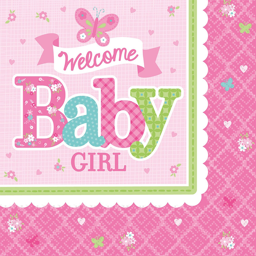 16 serviettes welcome little one Girl 33 cm de Amscan
