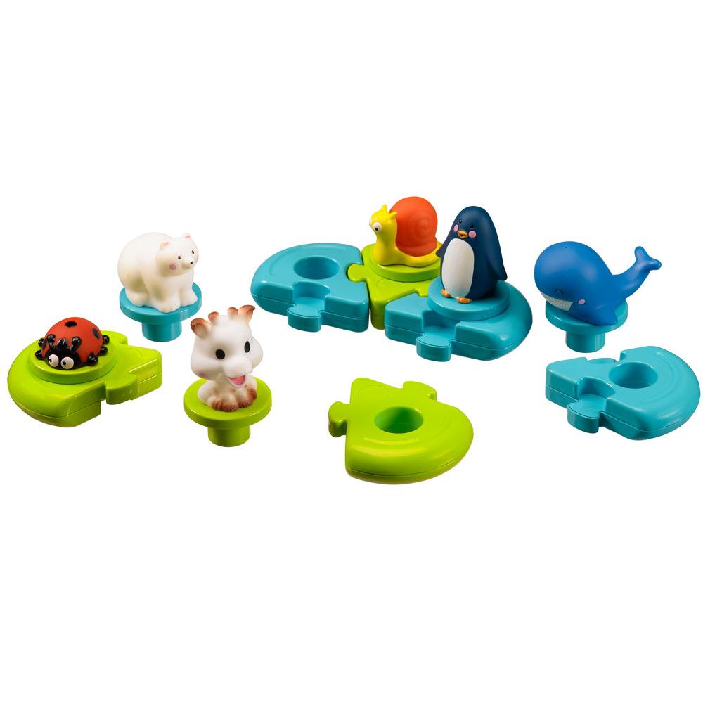 Puzzle de bain Sophie la girafe Bleu / Vert  de Vulli