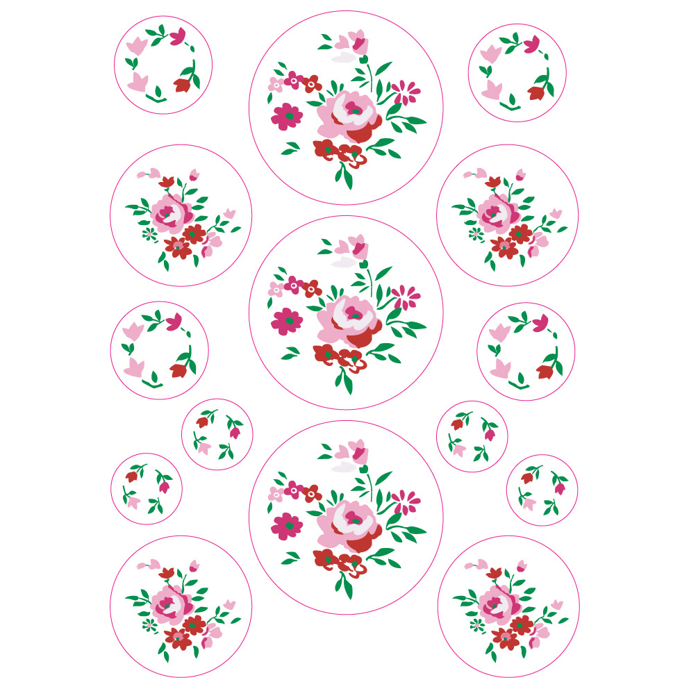 Planche de stickers 25 x 35 cm Roses  de Around the Wall