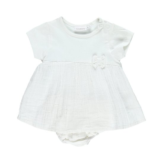 Ensemble robe + bloomer collection Cocon Fille Blanc  de Noukies