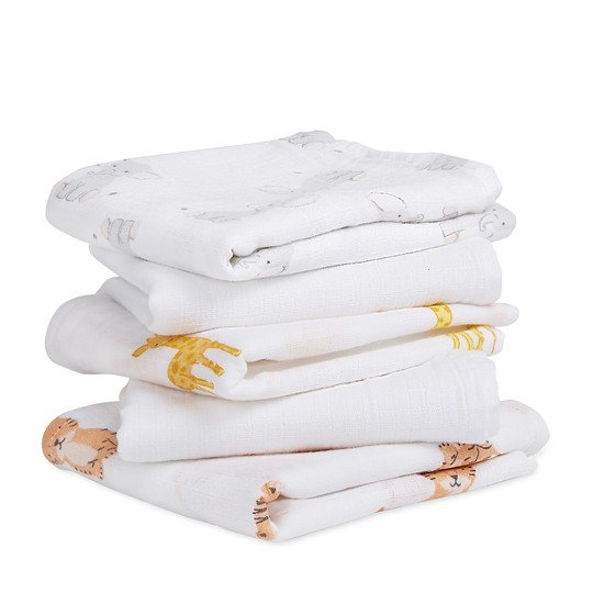 Lot de 5 langes Musy 60x60 Safari Babes  de aden + anais essentials