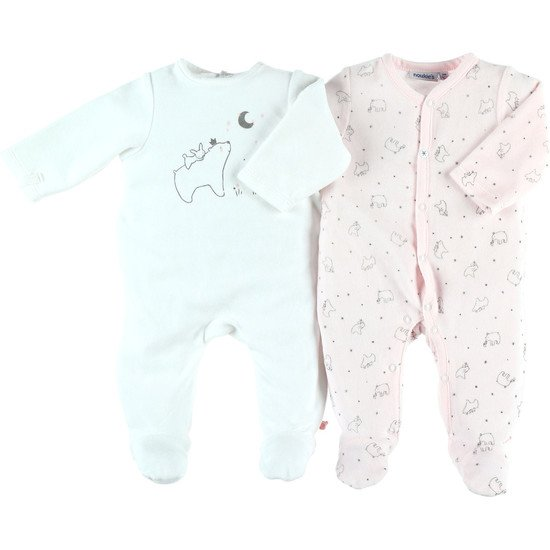 Set de 2 grenouillères en velours Collection Cocon Fille été 2019 Rose/banc  de Noukies