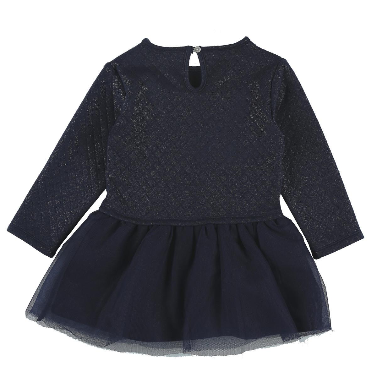 Robe Fille bi-matière en molleton Collection Smart Girl Bleu doré  de Noukies