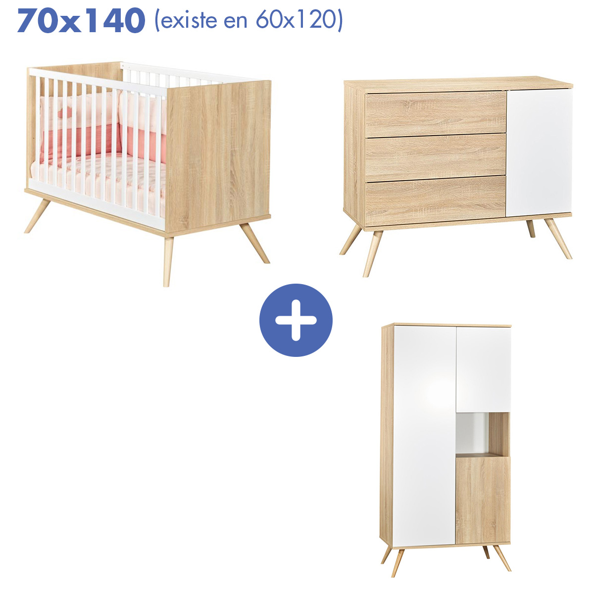 Chambre Seventies : Lit 70x140 + armoire + commode   de Sauthon Baby's Sweet Home