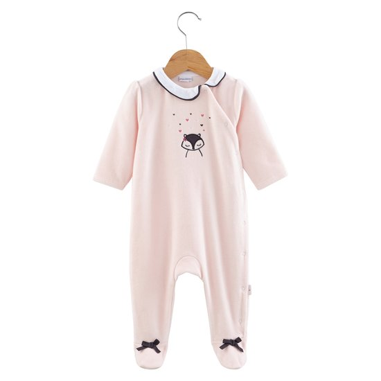 Pyjama velours collection Little Fox Rose Câlin  de P'tit Bisou Trousseau