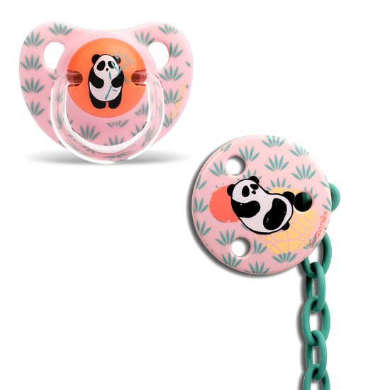 Pack attache-sucette + sucette physiologique Panda