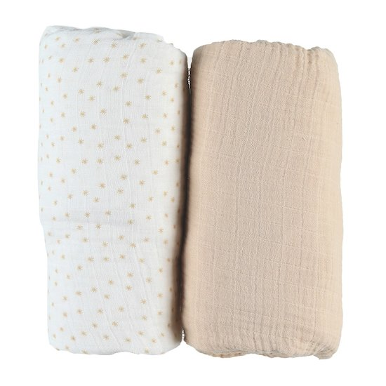 Mix & Match 2 Draps housses Mousseline Bio Beige  de Noukies