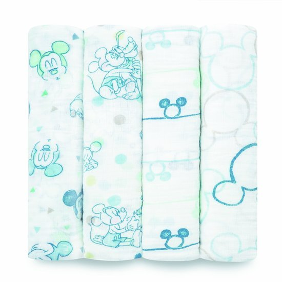 Lot de 4 langes 112x112 Mickey Bubble  de aden + anais essentials
