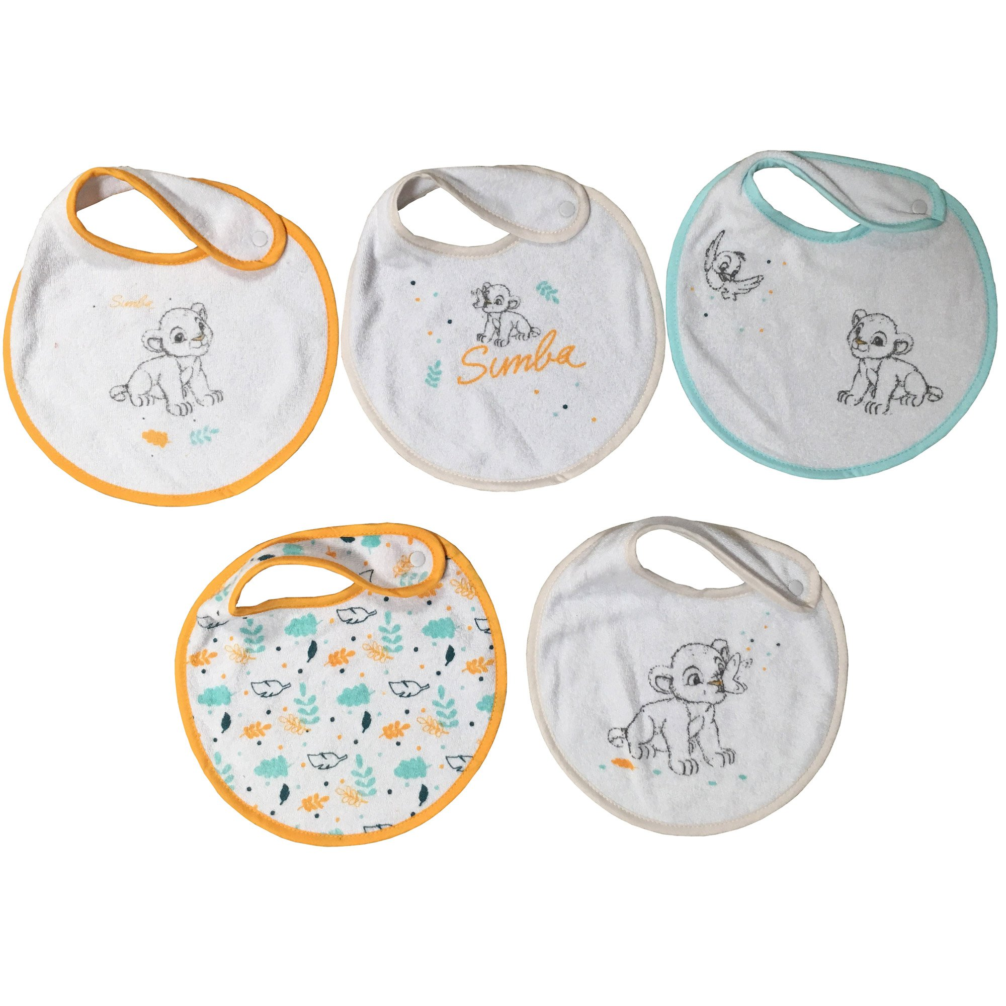 Animals lot de 5 bavoirs naissance Simba  de Disney Baby