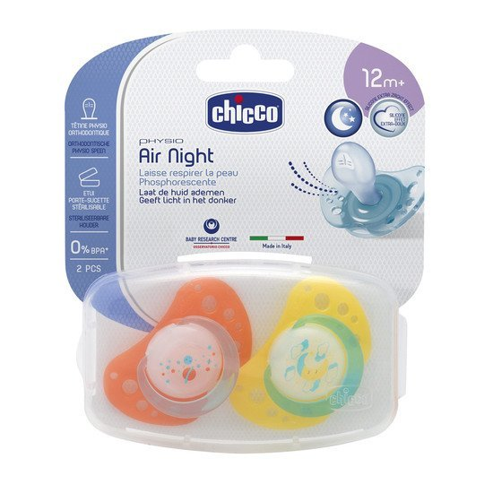 Lot 2 sucettes physio Air silicone Vert 12 M+ de Chicco