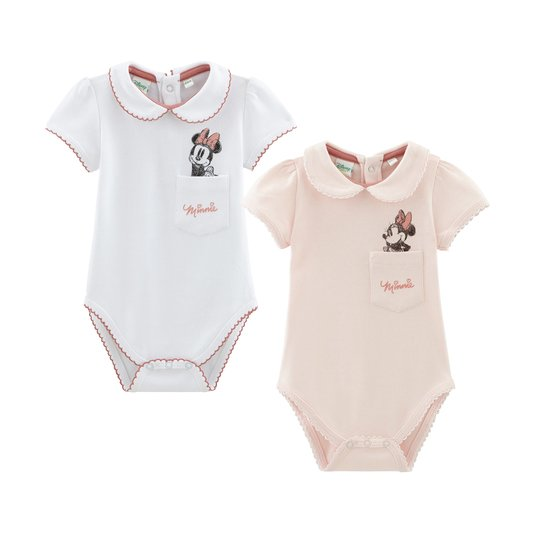 Lot de 2 bodies Bébé Fille col claudine Minnie  de Disney Baby