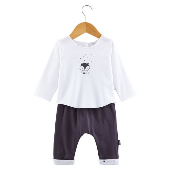 Pantalon + t-shirt collection Little Fox Blanc/Gris  de