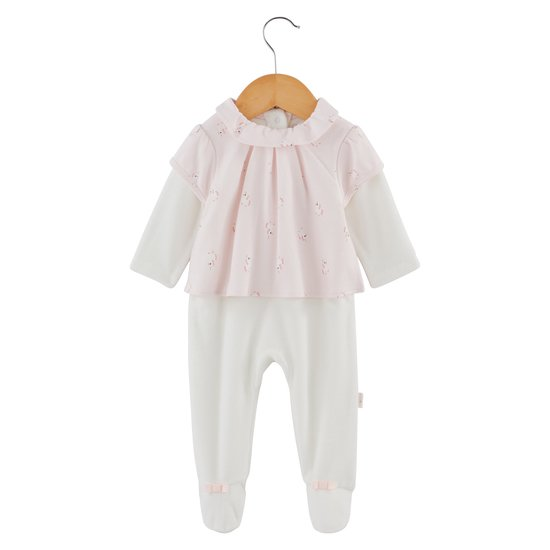Pyjama velours collection Licorne Blanc/Rose  de P'tit Bisou Trousseau
