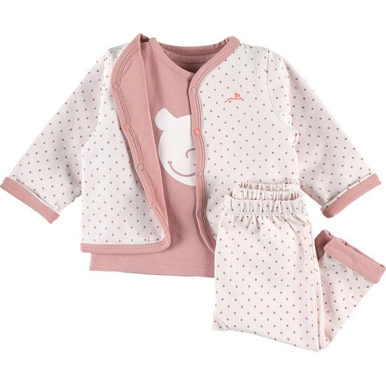 Ensemble 3 pièces bio Collection Cocon Rose à pois  de Noukies