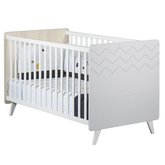 Wave Little Big Bed 70x140cm Acacia Blanc / Gris   de Sauthon Baby's Sweet Home