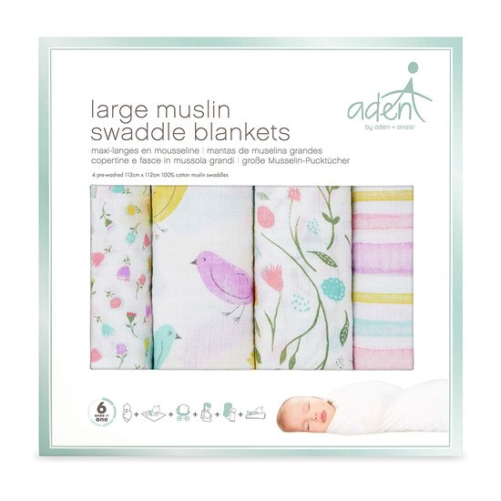 Lot de 4 langes 112x112 Printemps  de aden by aden + anais