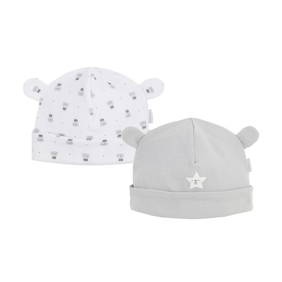 Lot de 2 bonnets Imprimé ourson  de P'tit bisou